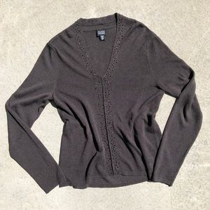 Eileen Fisher Brown Beaded V-Neck Pullover Sweater
